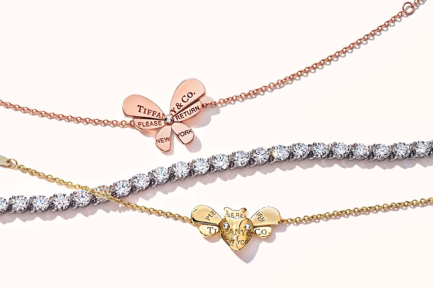 Tiffany&Co. 'Return to Tiffany Love Bugs' collection bracelets with diamond bracelet in yellow, rose and white gold and silver