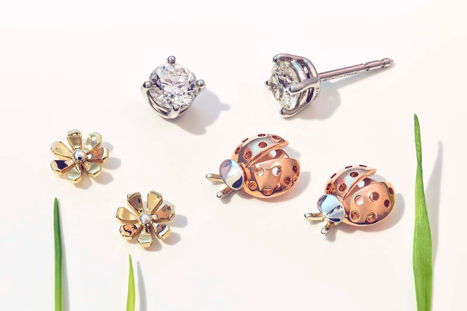 Tiffany&Co. 'Return to Tiffany Love Bugs' collection earrings with diamond earrings in yellow, rose and white gold and silver