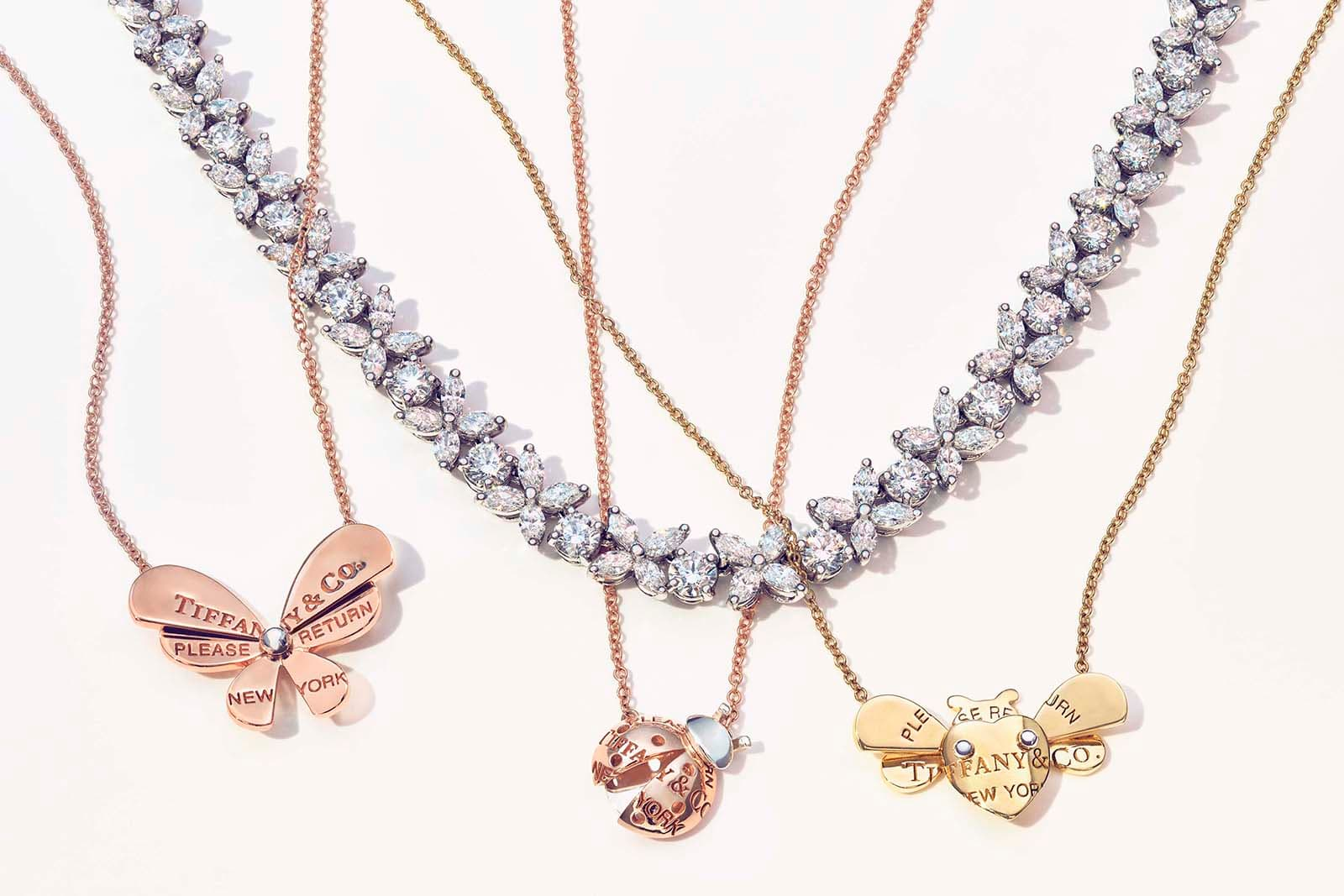 Tiffany&Co. 'Return to Tiffany Love Bugs' collection necklaces with diamond necklace in yellow, rose and white gold and silver