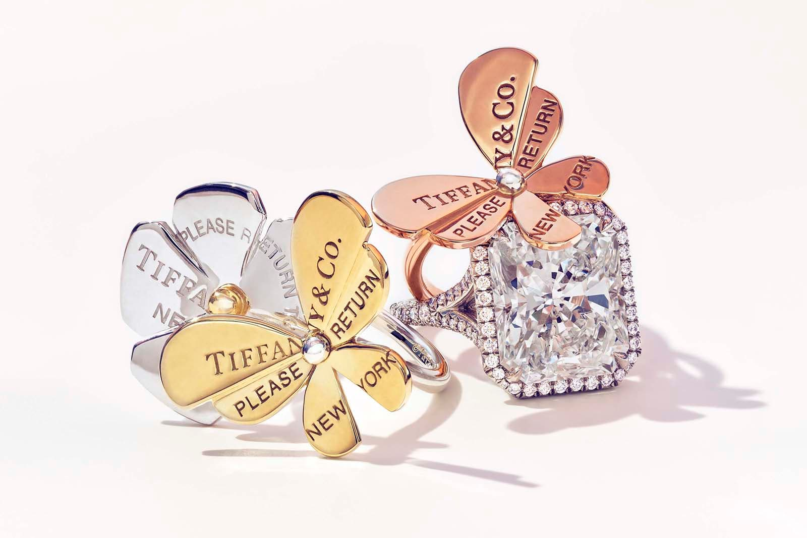 Tiffany&Co. 'Return to Tiffany Love Bugs' collection rings with diamond ring in yellow, rose and white gold and silver