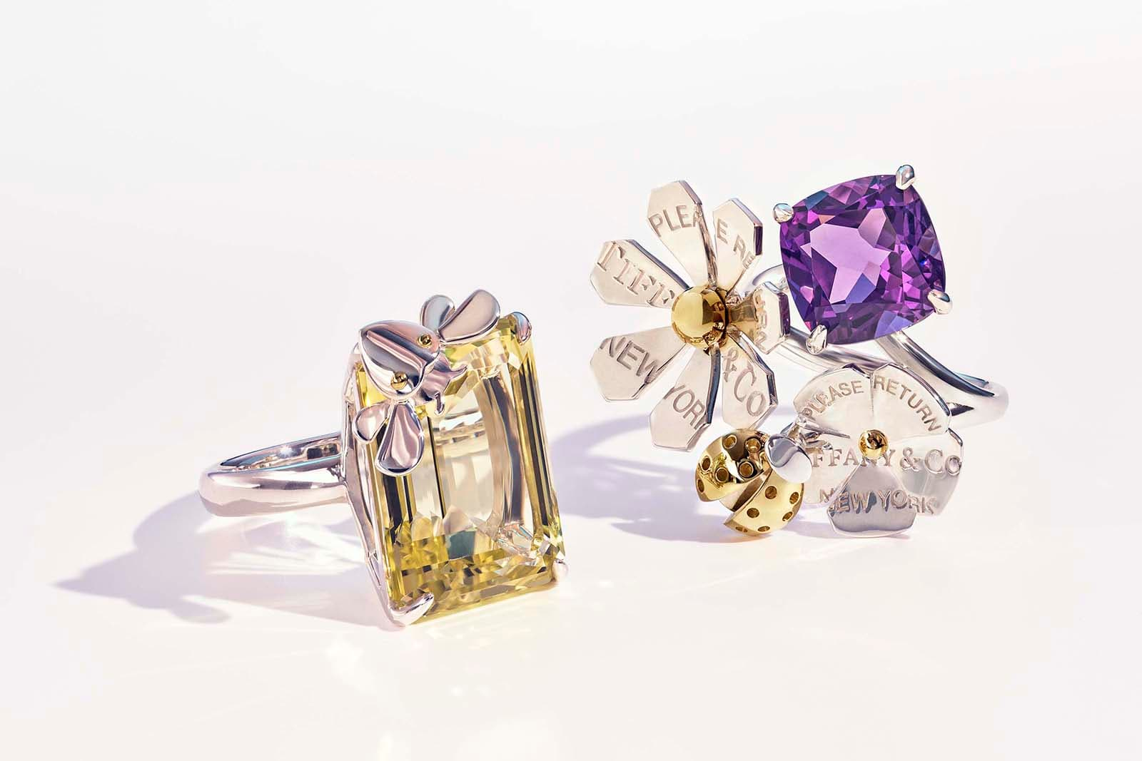 Tiffany&Co. 'Return to Tiffany Love Bugs' collection rings with 14ct quartz and 5ct amethyst in yellow and white gold and silver