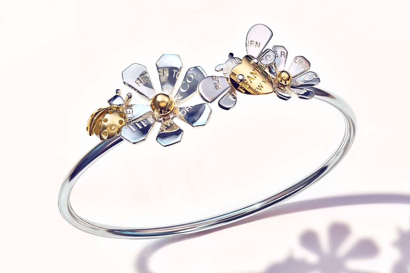 Tiffany&Co. 'Return to Tiffany Love Bugs' collection bangle in yellow gold and silver