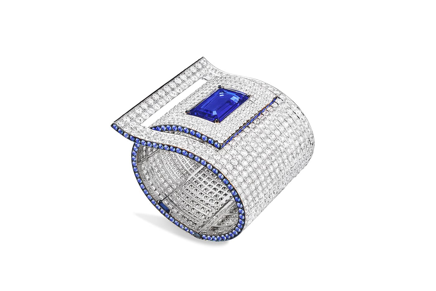 Fabio Salini cuff with 22.20ct tanzanite, sapphires and diamonds in gold