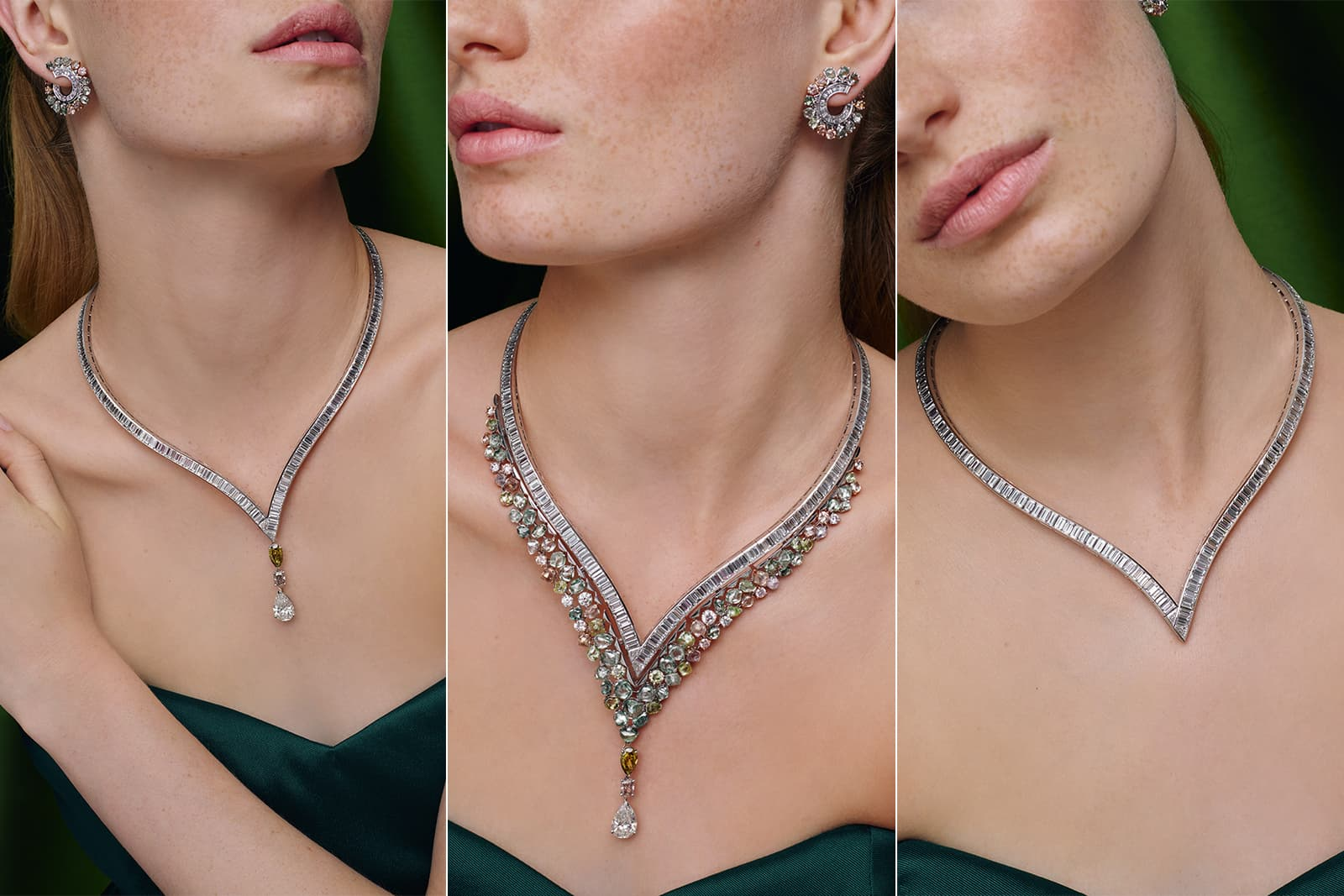 De Beers 'Knysna Chameleon' transformable necklace with fancy coloured diamonds and colourless diamonds