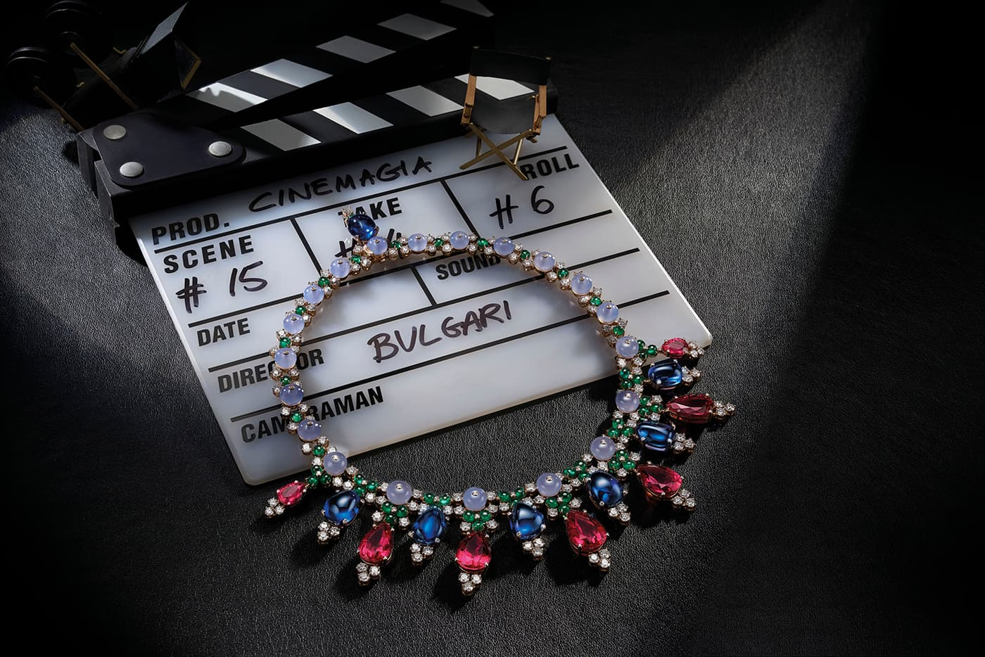 Bvlgari 'Cinemagia' collection necklace with rubellite, sapphire, emerald, diamonds and chalcedony in white gold