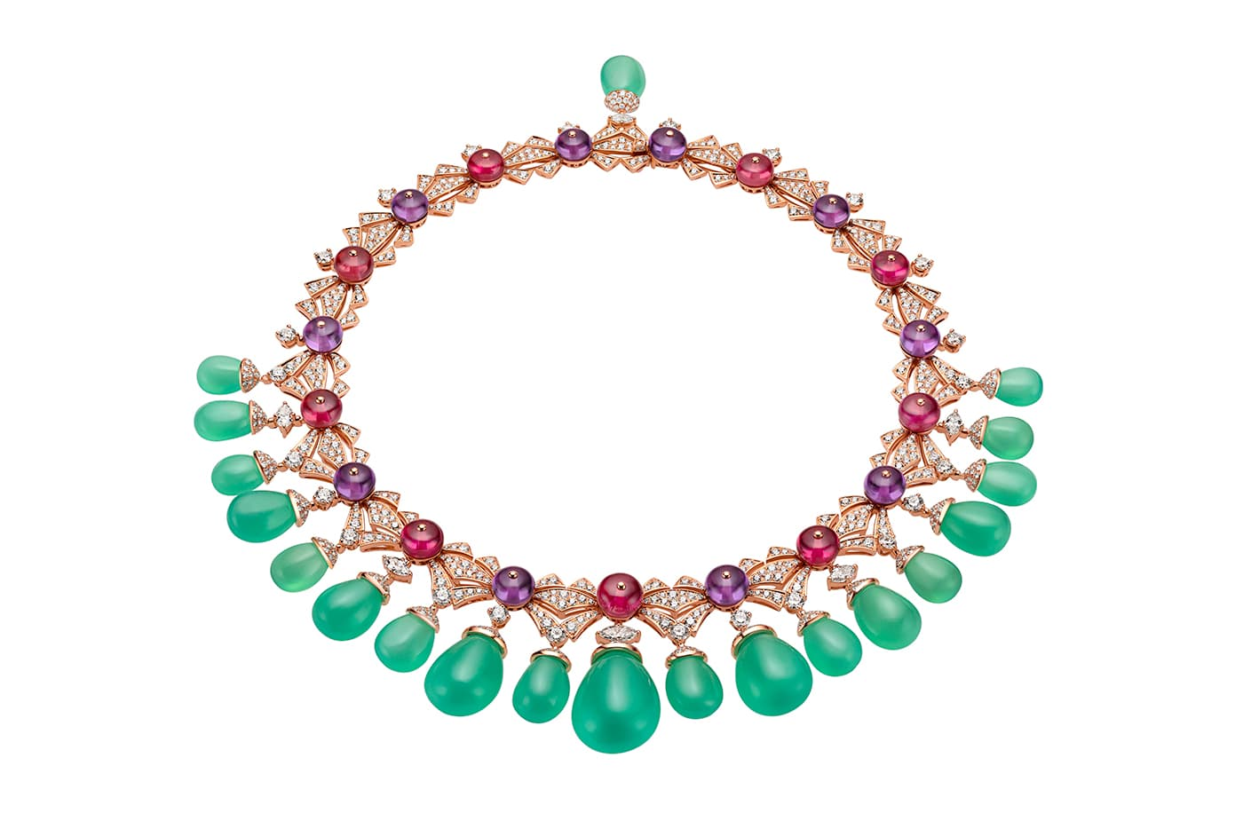 Bvlgari 'Cinemagia' collection 'Charming Sirens' necklace with over 220ct chrysoprase, amethyst, rubellite and diamonds in rose gold