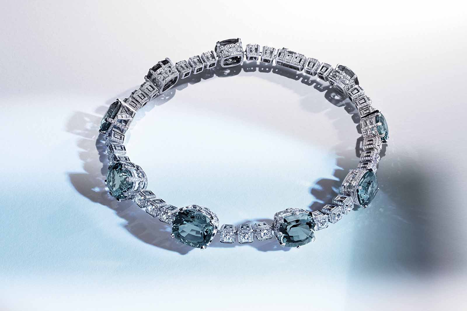 Louis Vuitton 'Riders of the Knights' collection 'La Reine' necklace with 152.83ct aqaumarine and diamonds in white gold
