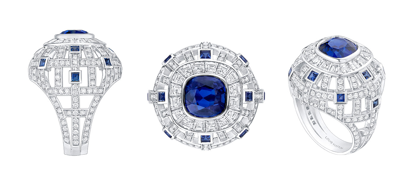 Louis Vuitton 'Riders of the Knights collection 'Le Royaume' ring with sapphires and diamonds in white gold