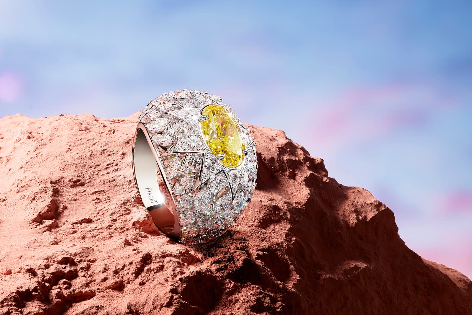 Piaget 'Rising Star' ring with fancy yellow diamond and colourless diamonds in white gold