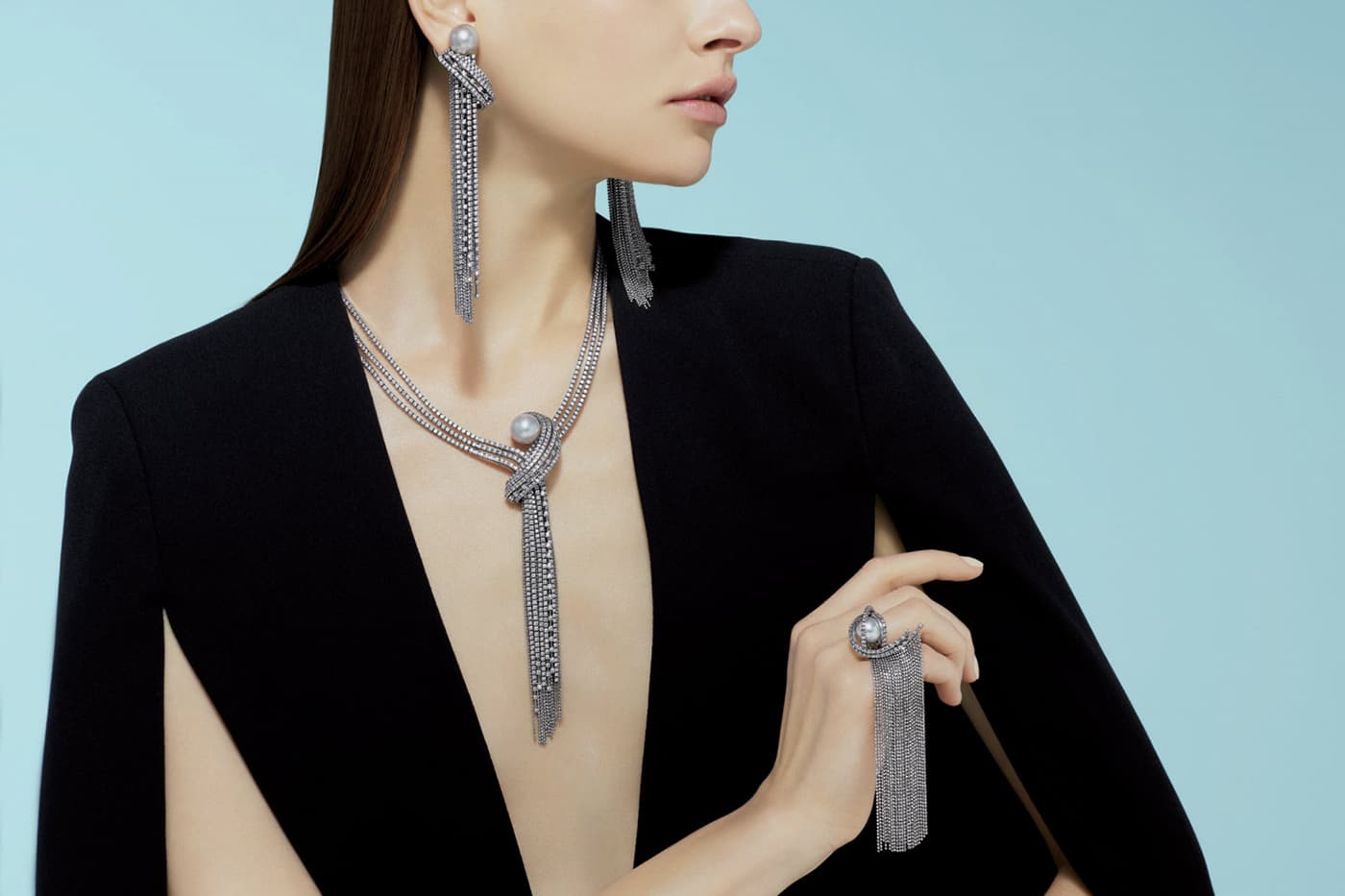 Tasaki 'Ocean Frontier' collection 'Waterfall' suite with pearls and diamonds in white gold