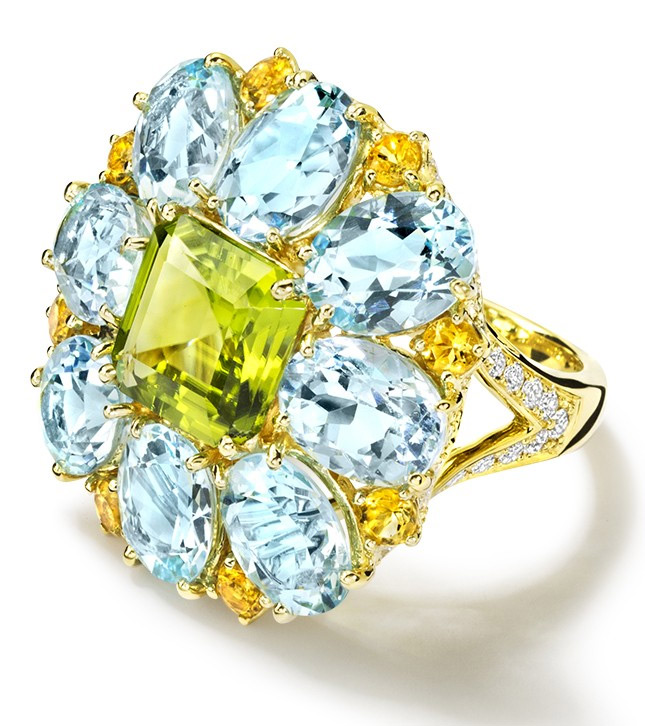 Cassandra Goad ring with a peridot, topaz, citrine and diamonds