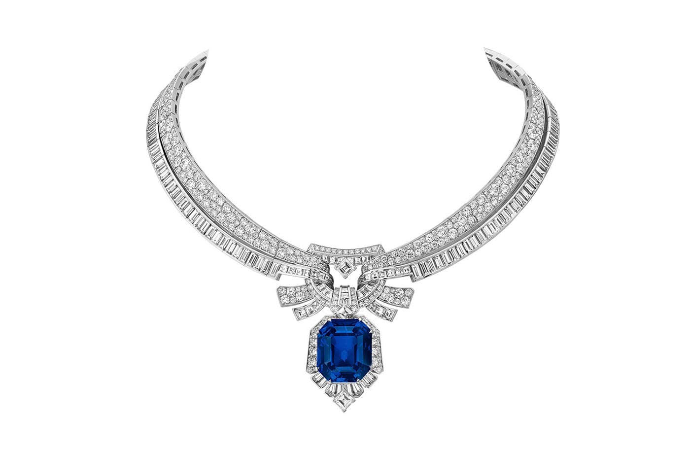Van Cleef & Arpels 'Romeo and Juliet' collection 'Maiolika' necklace with Sri Lankan emerald cut sapphire of 42.86ct and diamonds in white gold