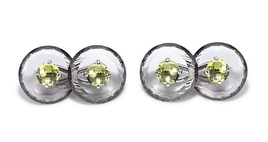 Asprey cufflinks with smokey quartz and peridot