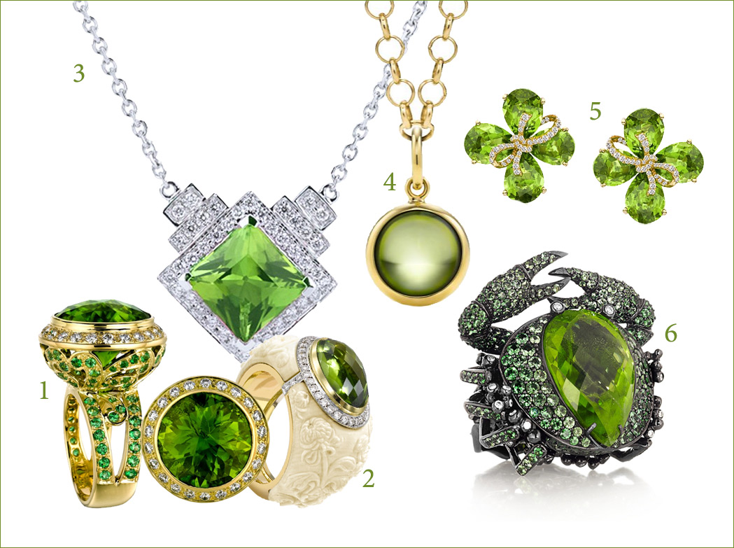Selection of peridot jewellery