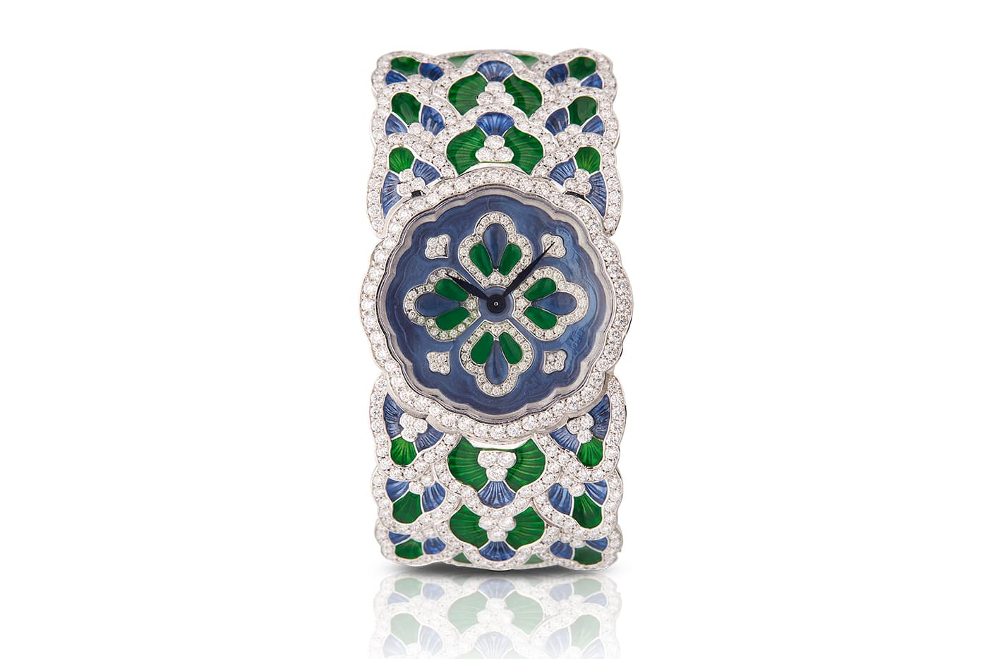 Buccellati 'Bluebell' watch with 11.35ct diamonds and guilloché enamel on white gold