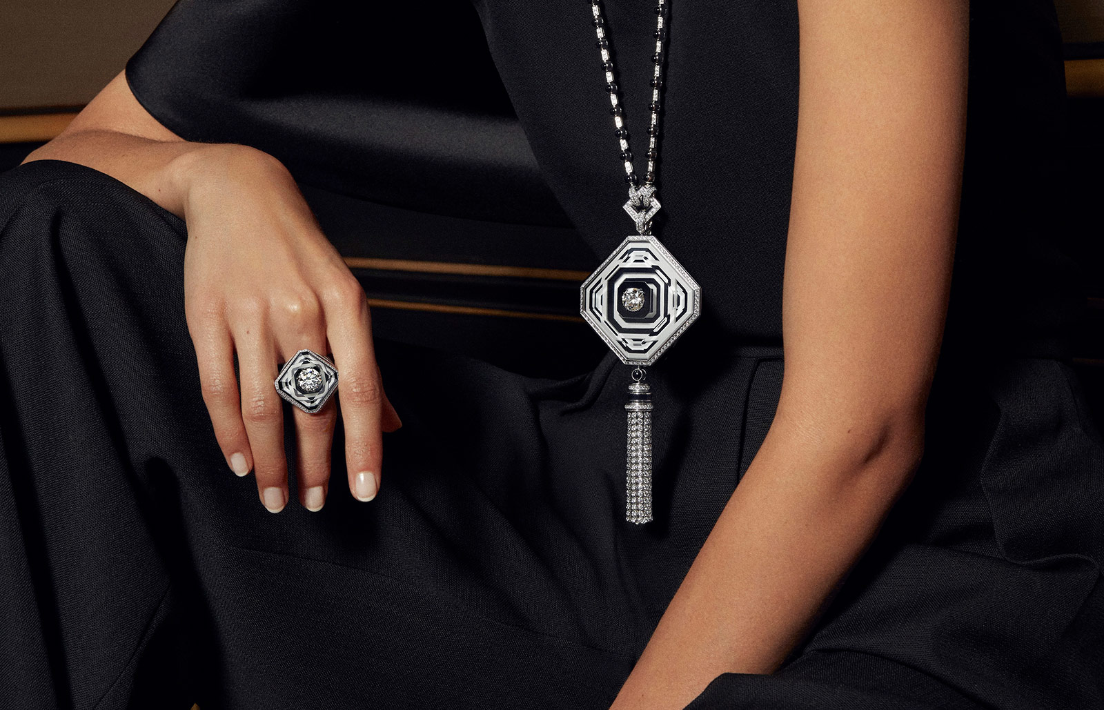 Boucheron '26V' necklace and ring with cacholong, onyx, rock crystal and diamonds