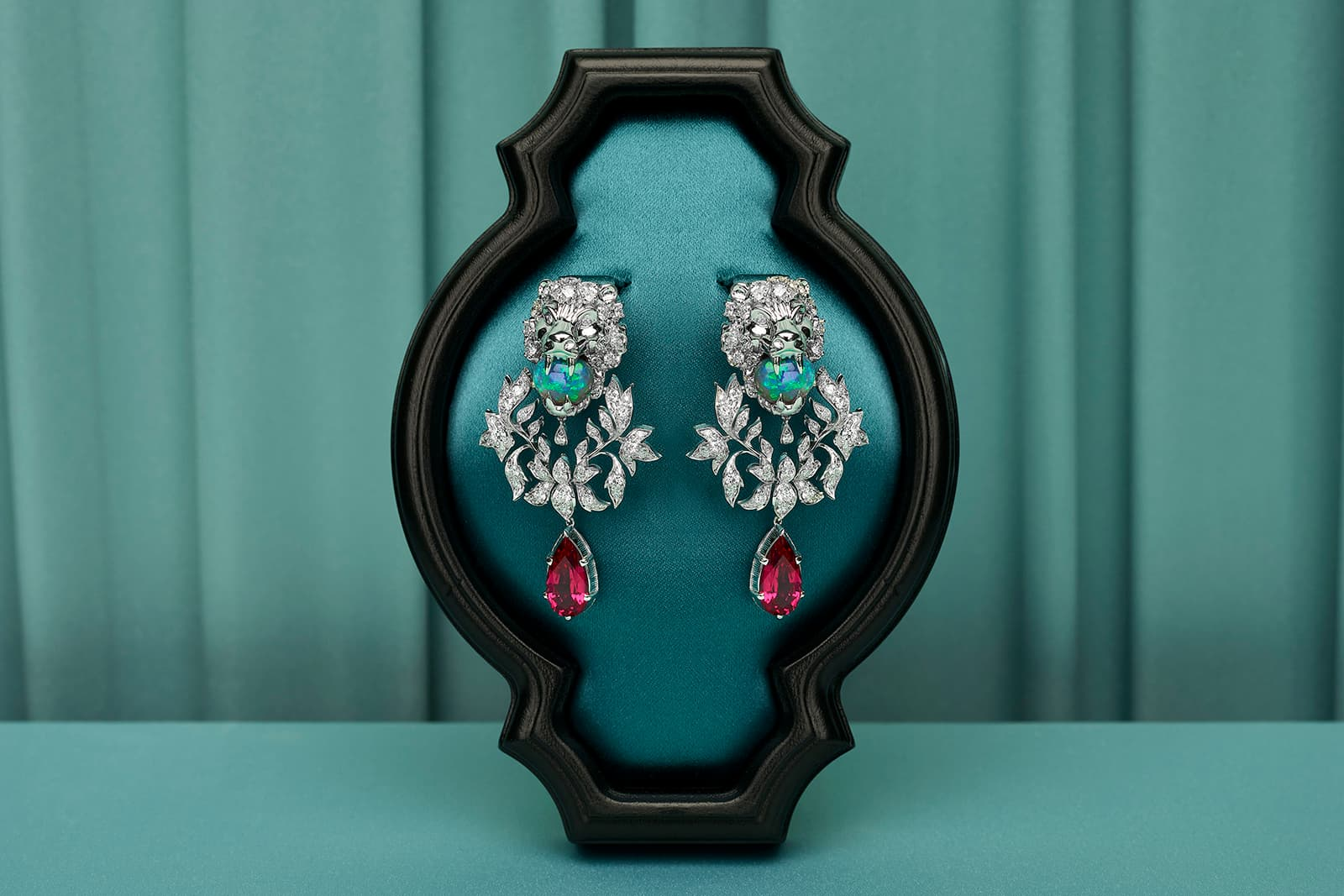 Gucci 'Hortus Deliciarum' collection 'Animal Kingdom' earrings with opals, rubellites and diamonds in white gold