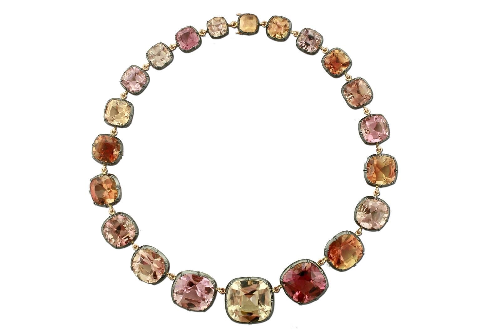 Taffin riviere necklace with tourmaline in silver and rose gold