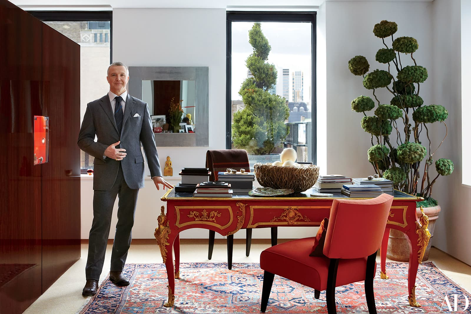 James Claude Taffin de Givenchy, founder of Taffin in his New York showroom. Image courtesy of Architectural Digest