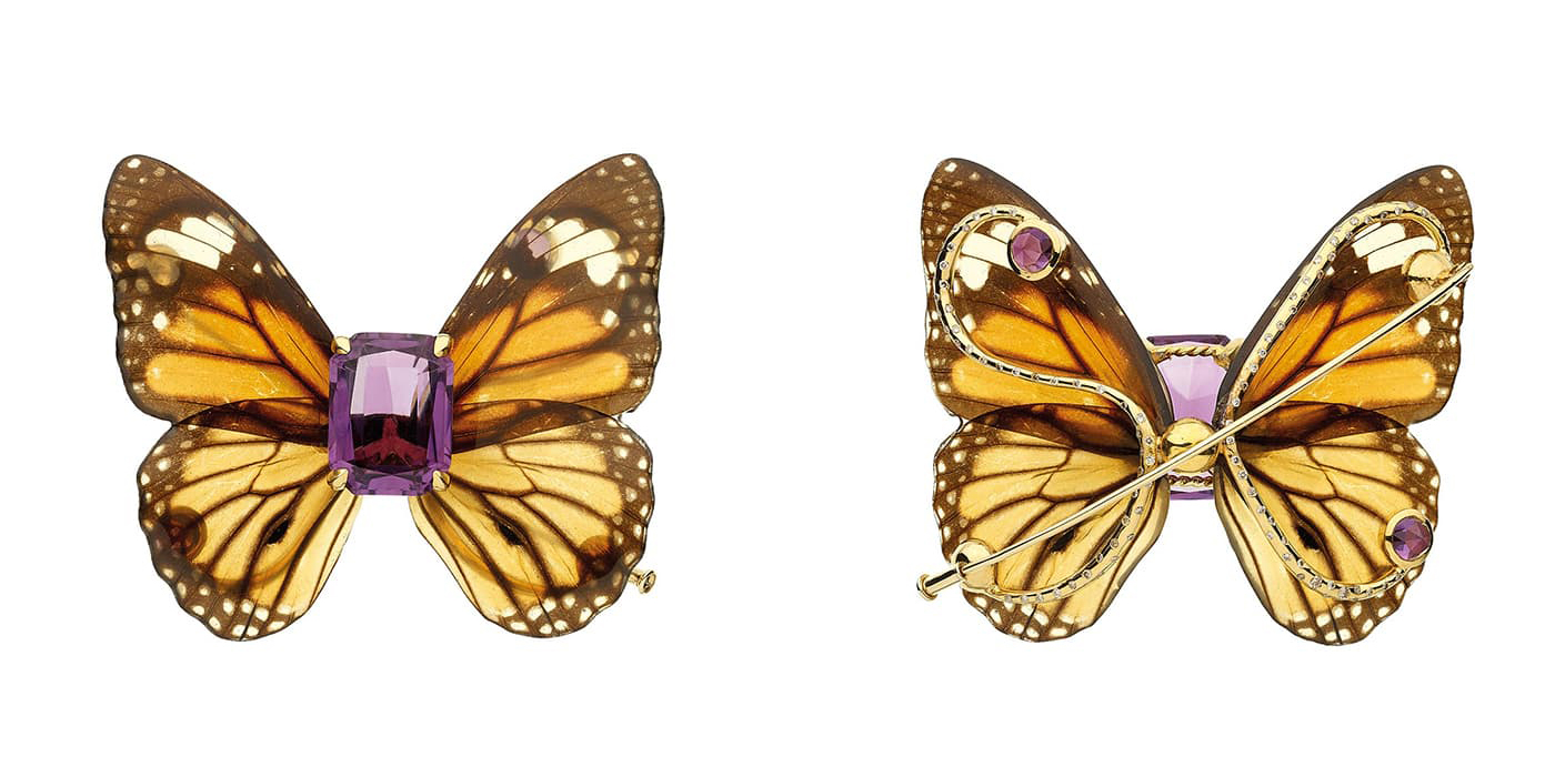 Sylvie Corbelin brooch with butterfly wings, amethyst and diamonds in yellow gold