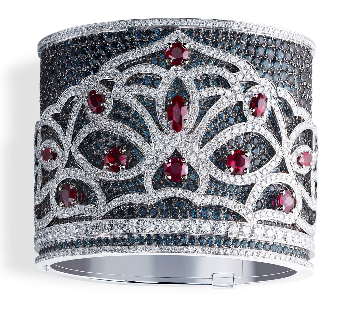 Faberge Kokoshnik Cuff with Alexandrites, Diamonds and Rubies