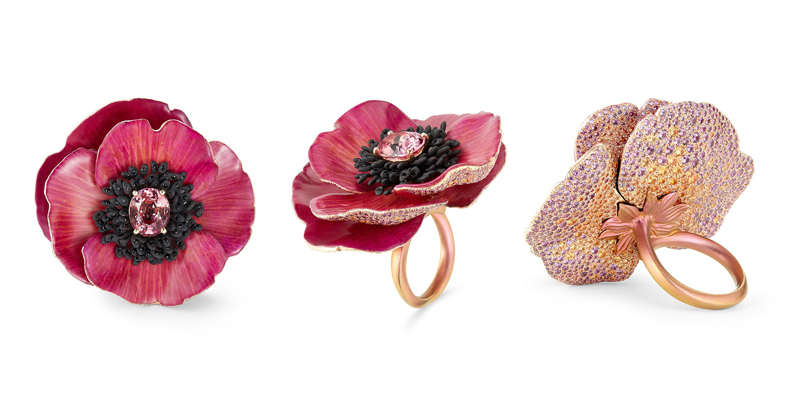 Boucheron 'Eternal Flowers' collection 'Pivione Avis Varner' ring with 4.16ct Padparadscha sapphire, spinels, yellow and violet sapphires in titanium