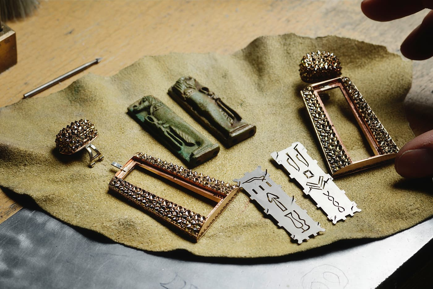 The making of Hemmerle earrings, faience, diamonds, bronze, silver, white gold. Price on Application, courtesy Hemmerle
