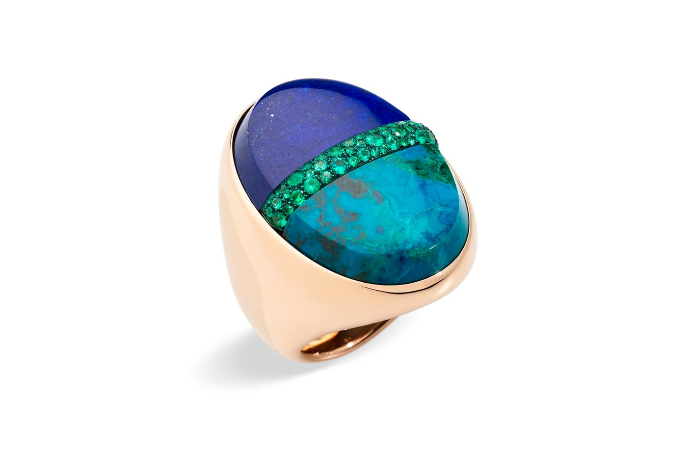 Pomellato 'Armonie Minerale' collection cocktail ring with lapis lazuli, turquoise and tsavorites in yellow gold