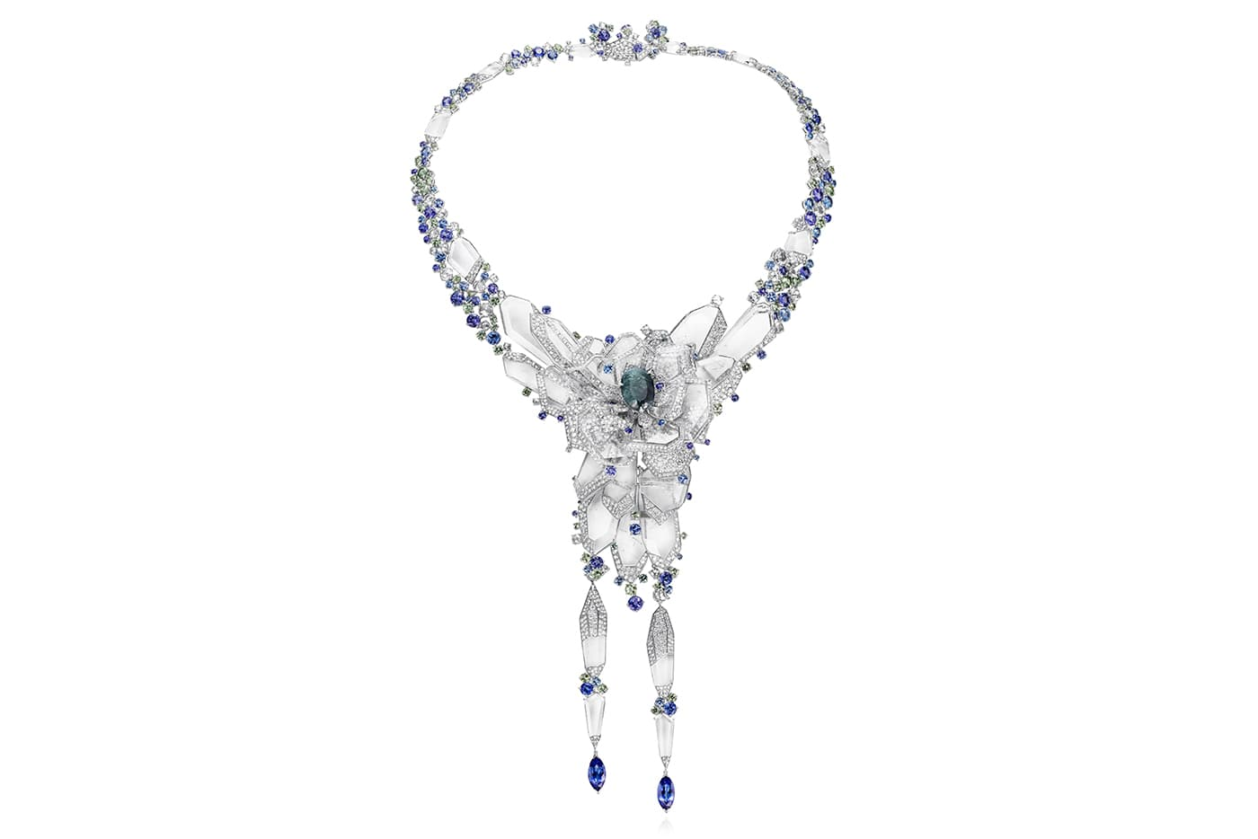 Rubeus 'Eternal' transformable necklace with oval 10.30ct alexandrite, diamonds, sapphires, tanzanites and rock crystal in titanium