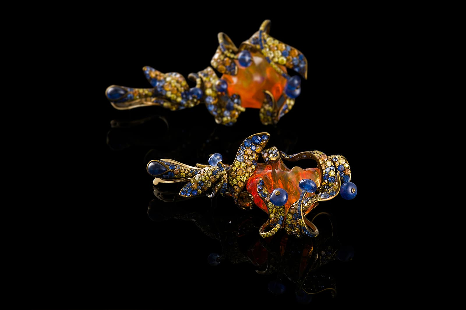Neha Dani 'Shristi' collection 'Arunima' earrings with fire opal, sapphires, yellow and orange diamonds in titanium