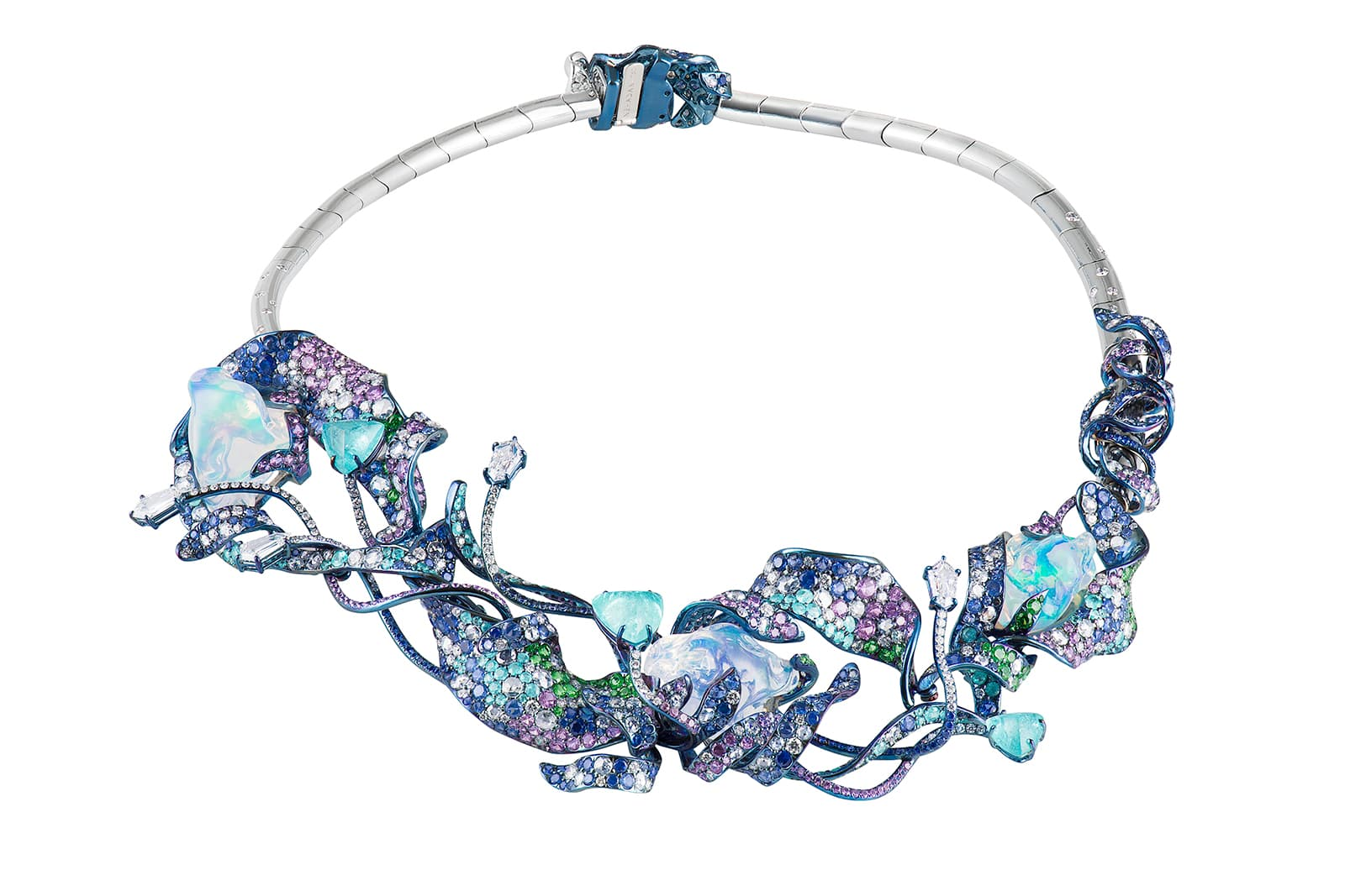 Neha Dani 'Shristi' collection 'Vaneesha' necklace with water opal, diamonds, Paraiba tourmalines, blue and purple sapphires and tsavorite garnets in titanium