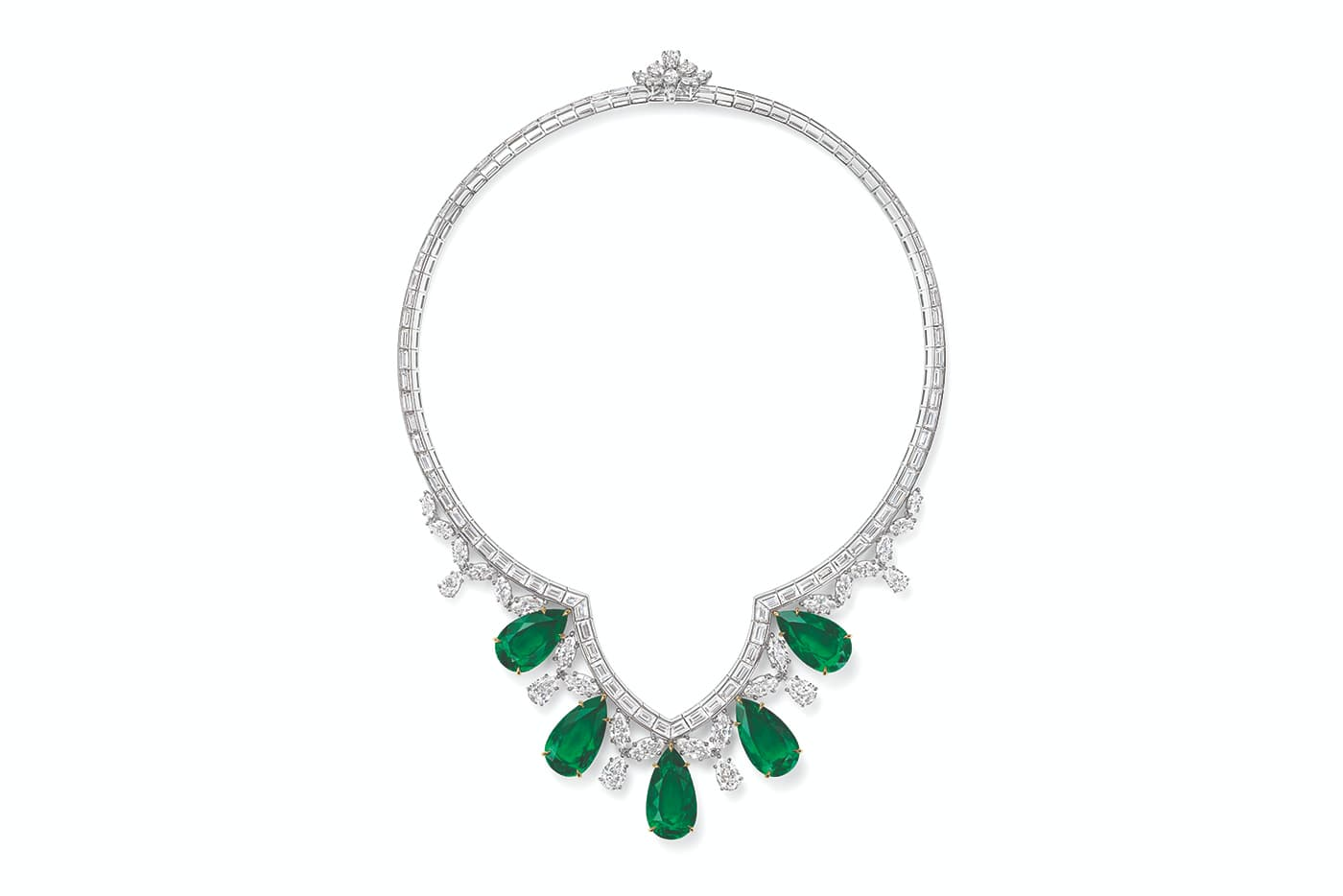 Harry Winston 'New York' collection 'Cathedral' necklace with pear cut Colombian emeralds and diamonds in platinum