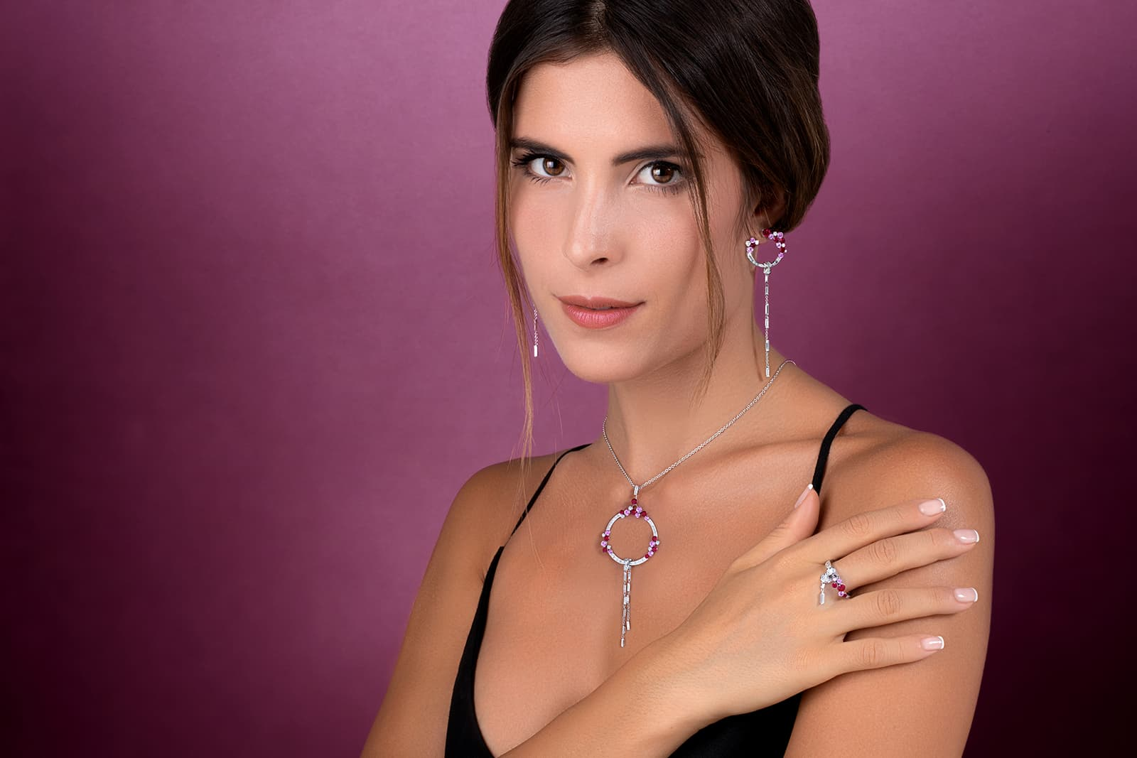 Stenzhorn 'Una' earrings, necklace and ring, all with diamonds, rubies and pink sapphires in white gold