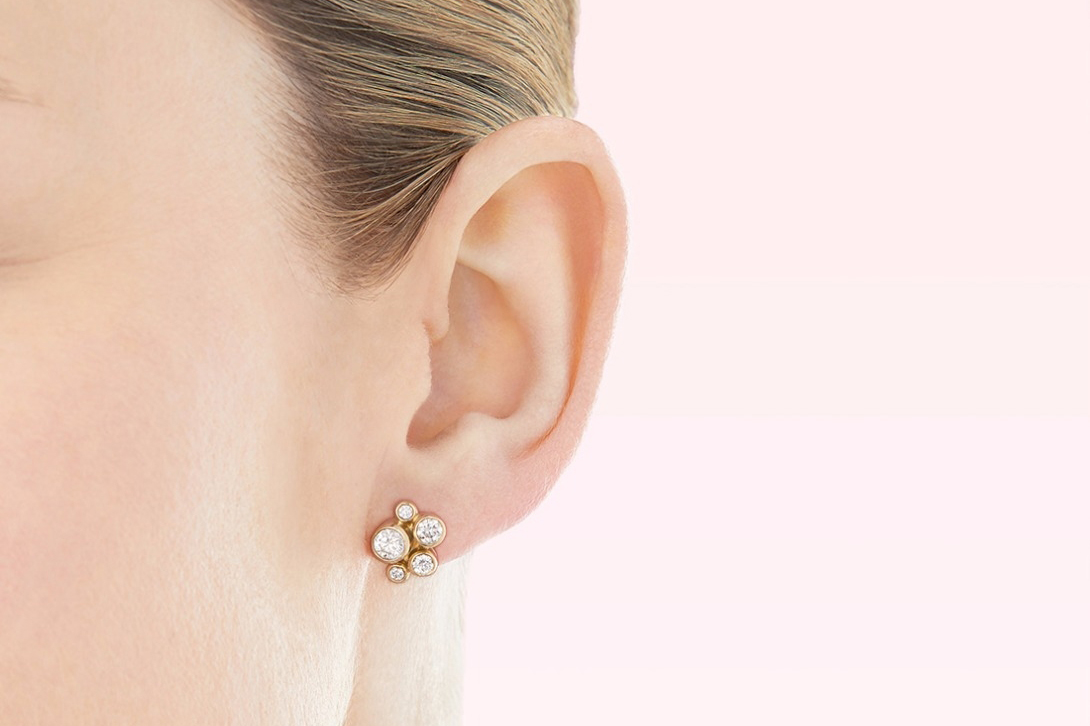 Boodles 'Raindance' cluster stud earrings with diamonds in yellow gold