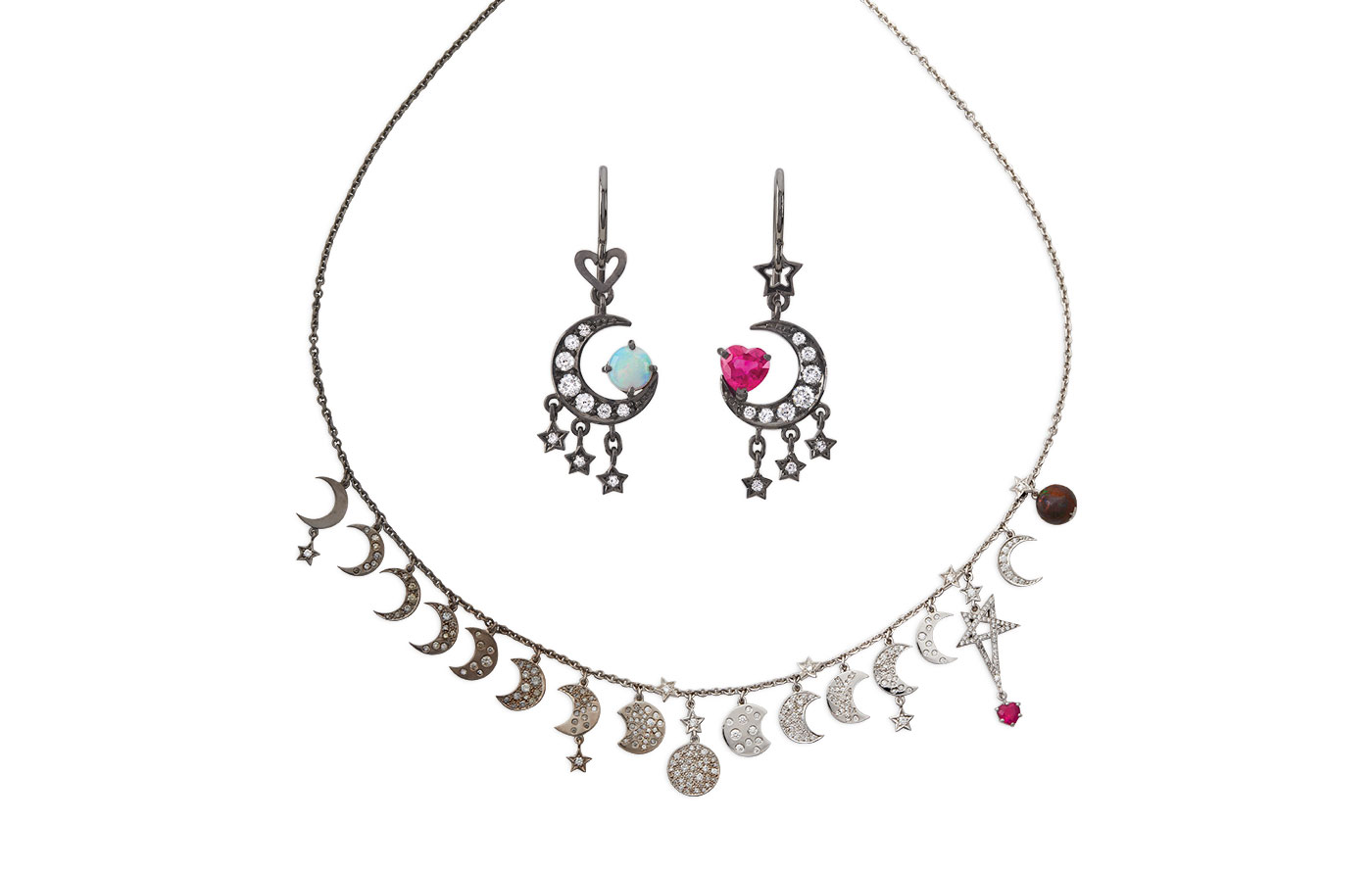 Solange Azagury-Partridge 'I love you to the Moon and back' suite with rubies, opals and diamonds in white gold