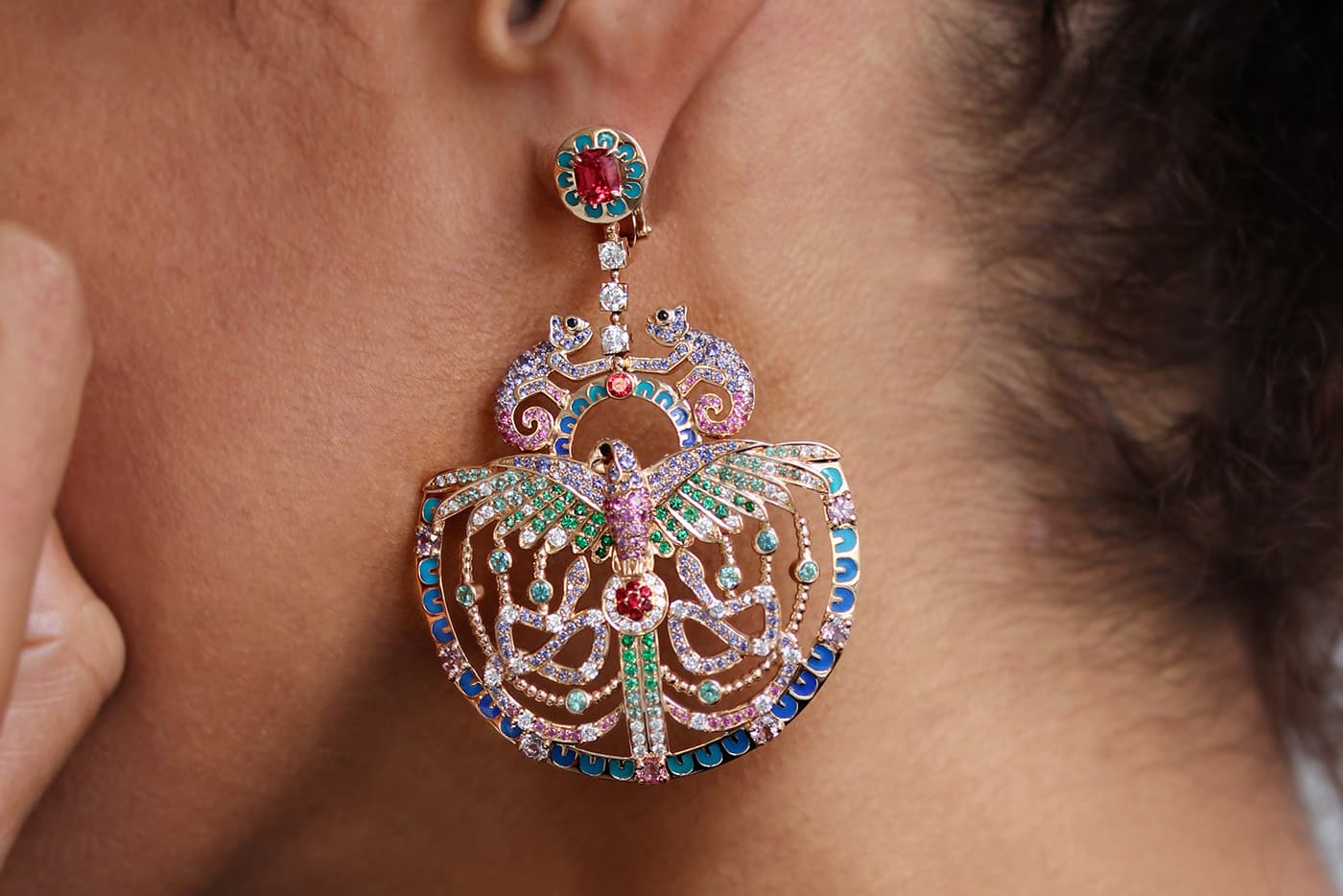 Aude Mathon x Émeline Piot 'Unique'collection 'Quetzal' earrings with spinels, tourmaline, sapphires, diamonds and emeralds in enamel and yellow gold