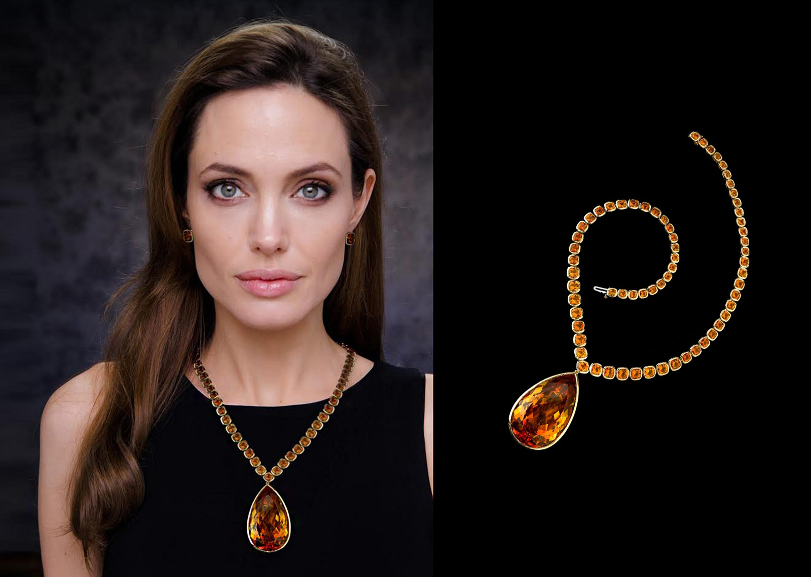 Robert Procop and Angelina Jolie collaboration necklace with 64 cushion cut citrines and a 177.11ct pear shaped citrine in yellow gold