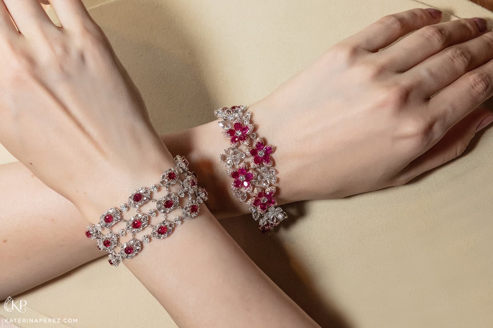 Novel Fine Jewelry bracelets with rubies and diamonds in white gold