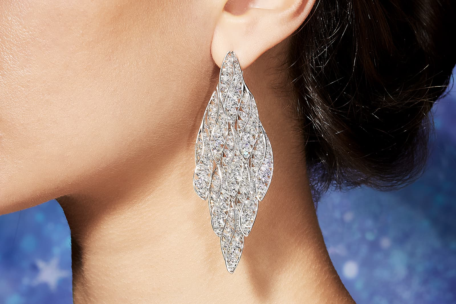 FORMS 'Helix' earrings with marquise diamonds in white gold