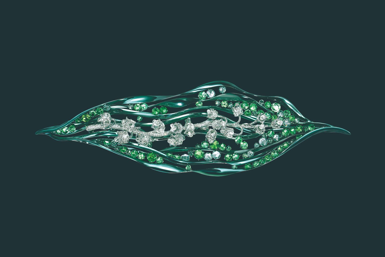 Feng J. 'Garden of Impressionism' collection 'Lily of the Valley' brooch with diamonds, tsavorites and electroplated 18k gold
