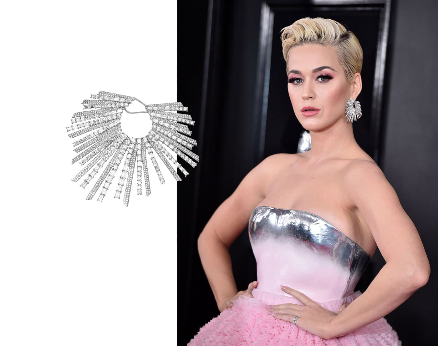 Katy Perry wearing Djula earrings with diamonds in white gold