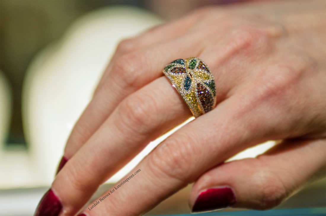 Le Vian ring from the Exotic series and is completely covered in multi-coloured pavé set diamonds
