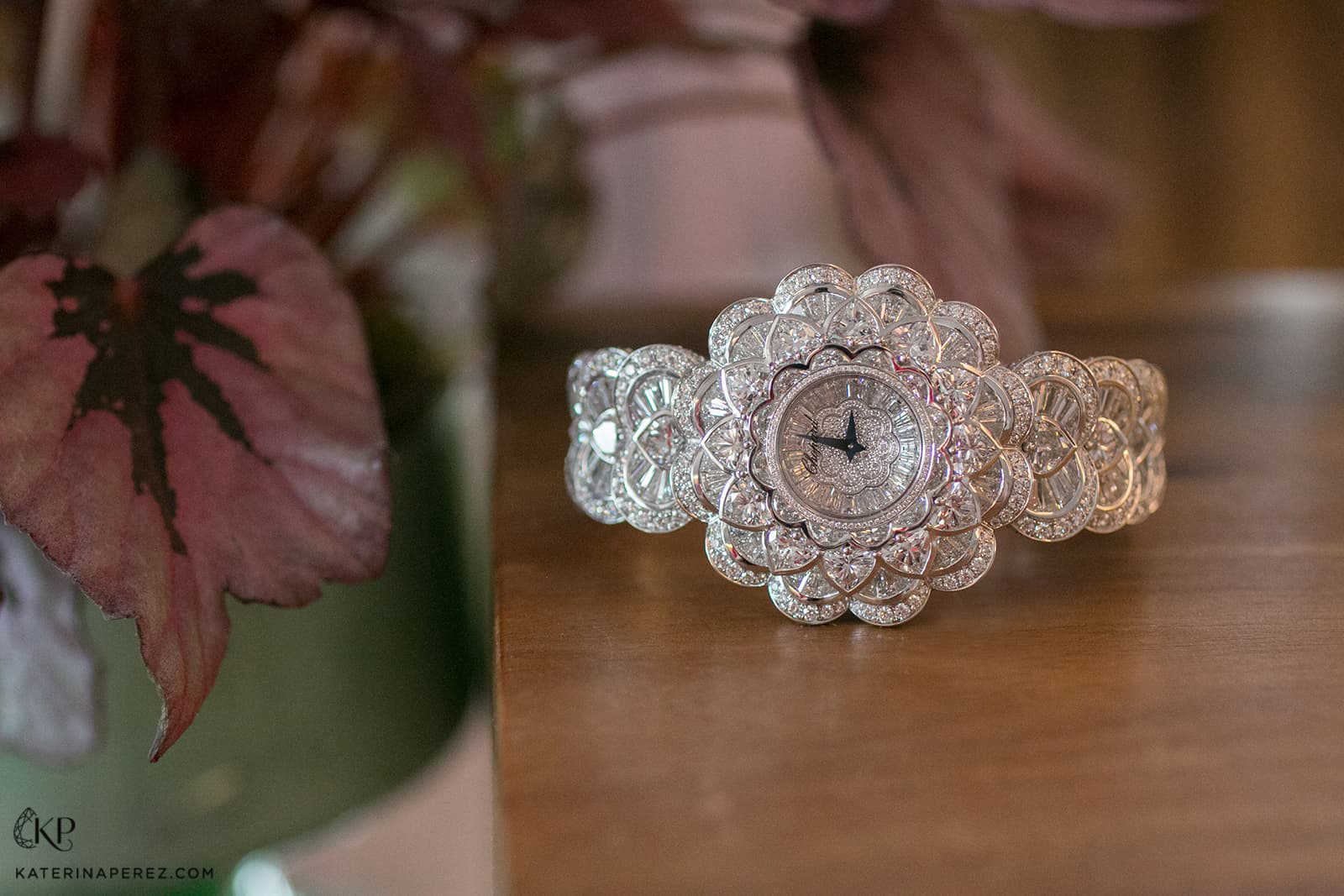 Chopard 'Waterlily' watch with 43ct diamonds in white gold