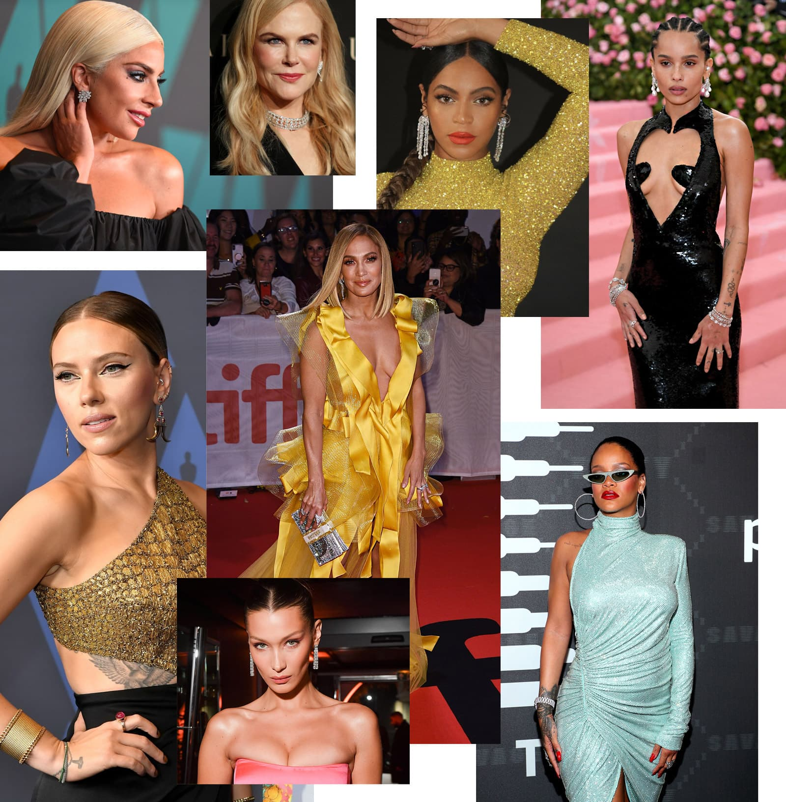 Stars wearing a variety of fine jewellery provided by D'Orazio & Associates PR on the red carpet