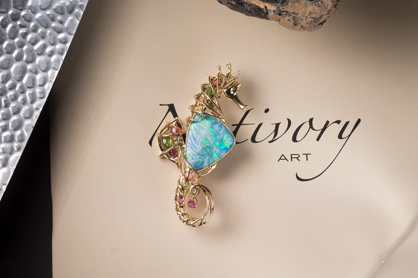 NotIvory jewellery brooch with opal and gemstones in yellow gold