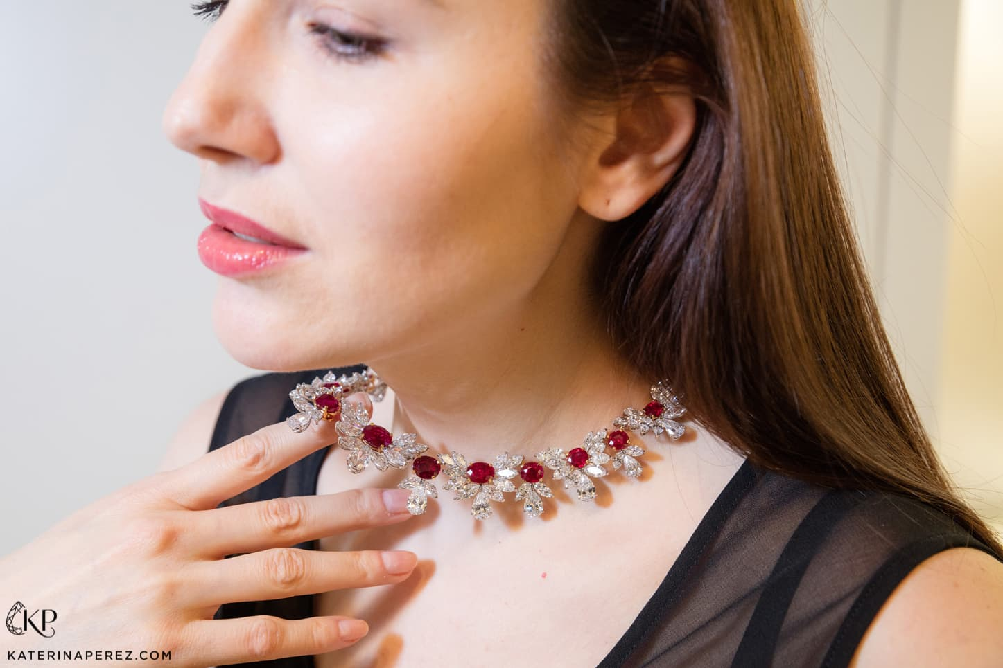 Faidee 'The Grand Phoenix' necklace with Burmese pigeon's blood rubies and 100.21ct diamonds in white gold
