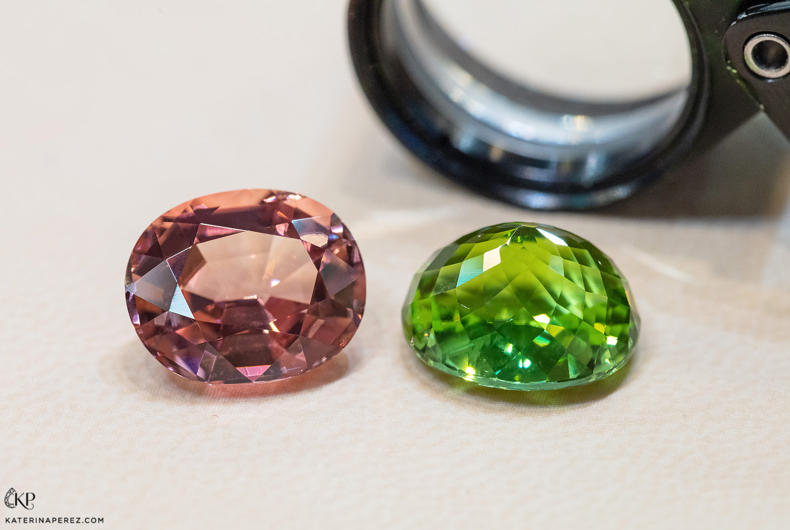 Nomad's Gems tourmalines acquired for re-cutting. Both of them illustrate imperfections of cuts as the facets are not perfectly symmetrical