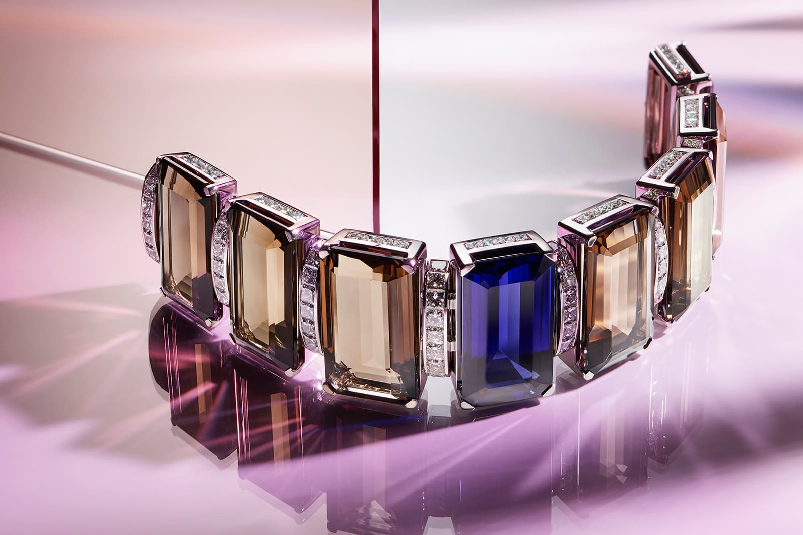 Tiffany&Co. Blue Book 2019 collection bracelet with over 55ct tanzanite, smoky quartz and diamonds in platinum