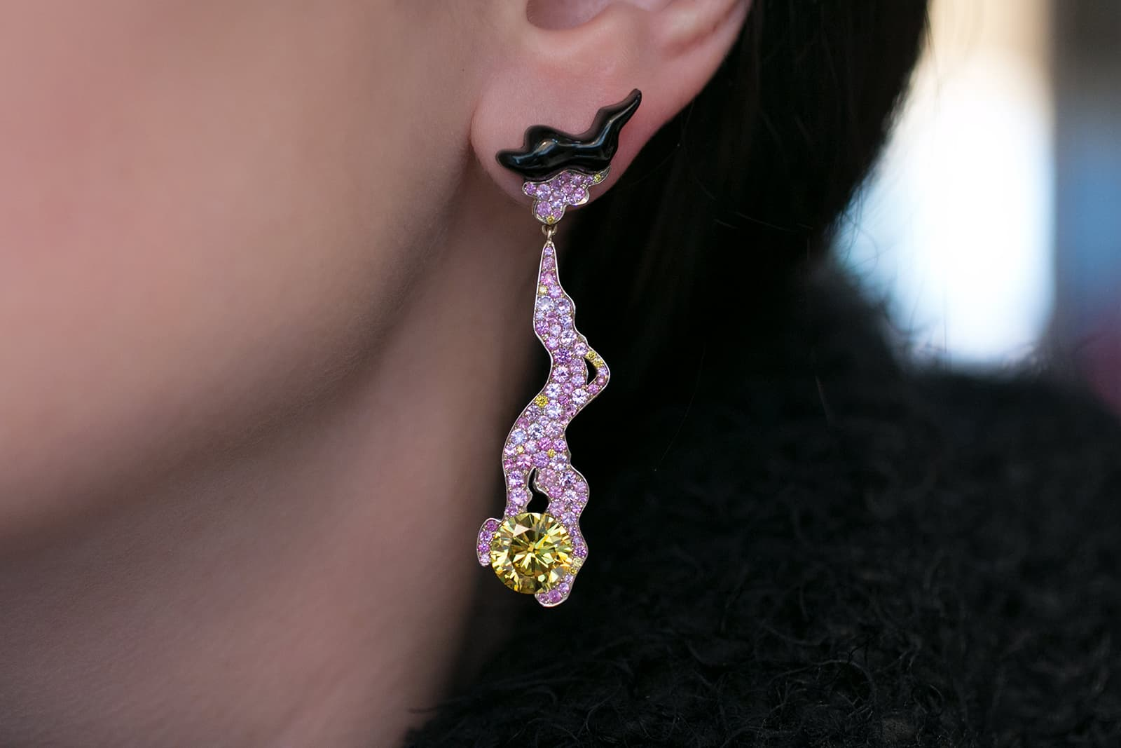 Joseph Ramsay 'The Fabric of Jewellery' collection 'Nymph' earrings with a pair of Fancy Vivid Yellow round brilliant cut diamonds weighing 3.01ct each, pink sapphires and black jet burns in blackened yellow gold