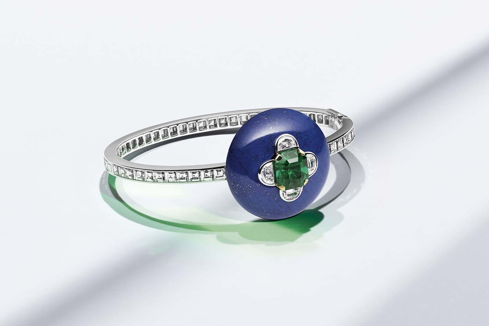 Louis Vuitton 'Riders of the Knights' collection bracelet with emerald, lapis lazuli and diamonds in white gold